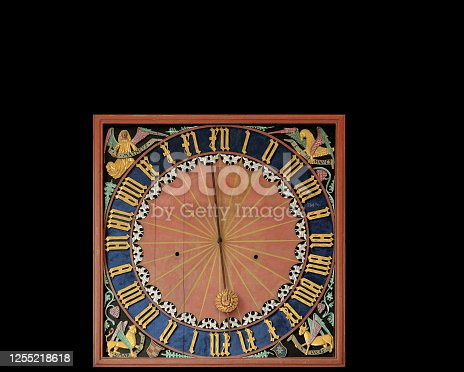 This is an ancient clock using the 24 hour cycle with the hour number using roman numerals