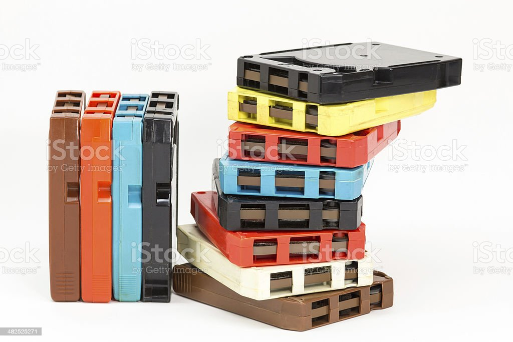 Old fashioned 8-track audio tapes stock photo