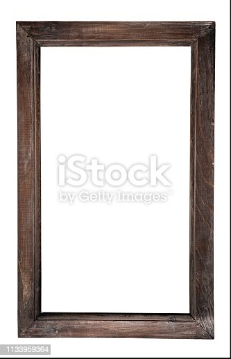 Old fashioned wooden (timber) made frame, with plenty of copy space (front view). Shot in Canon EOS R full frame system in studio.