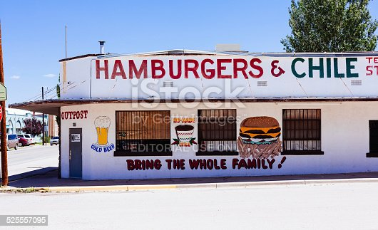 Edgewood, United States - August 2, 2013: Old fashioned abandoned restaurant along the route 66 selling hamburgers and cold beer.