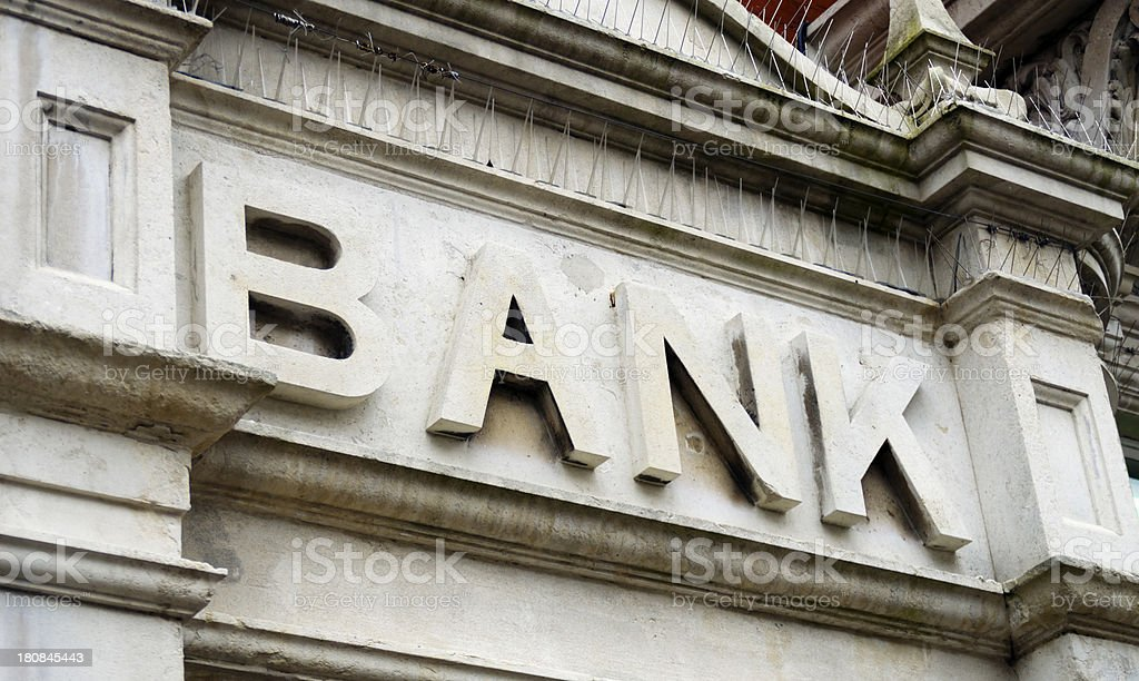 Old fashioned Bank sign royalty-free stock photo