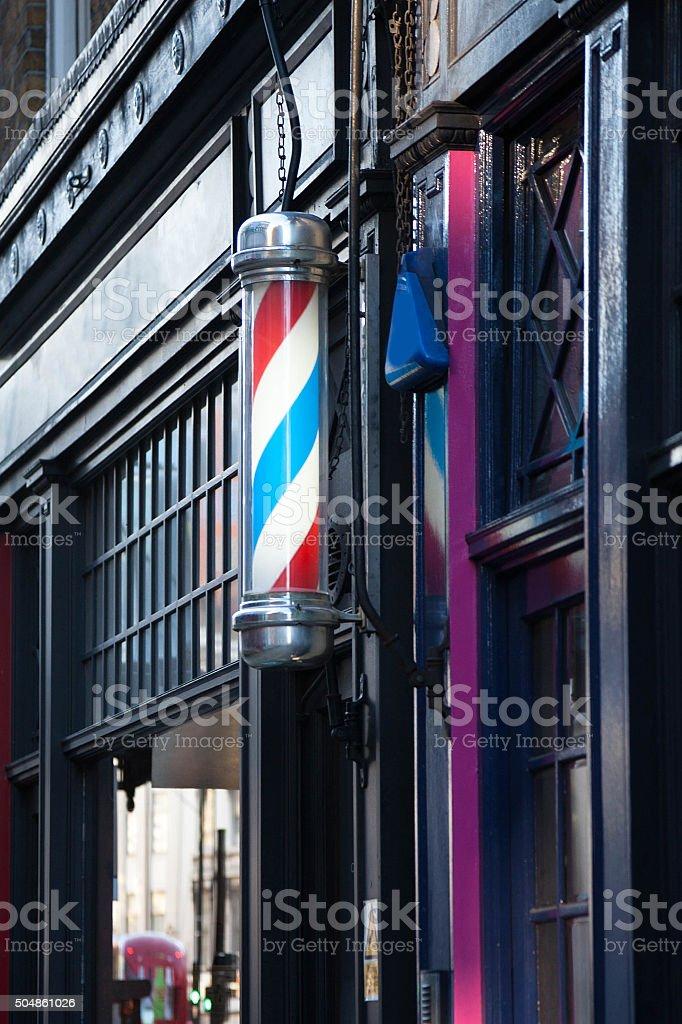 Old Fashioned Barbershop Pole stock photo