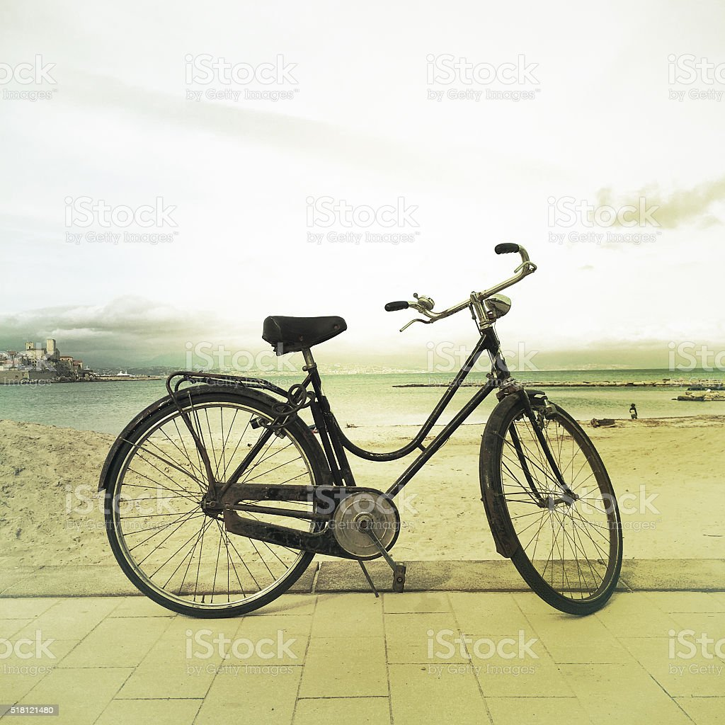 Old Fashioned Bicycle at the Beach Antibes France royalty-free stock photo
