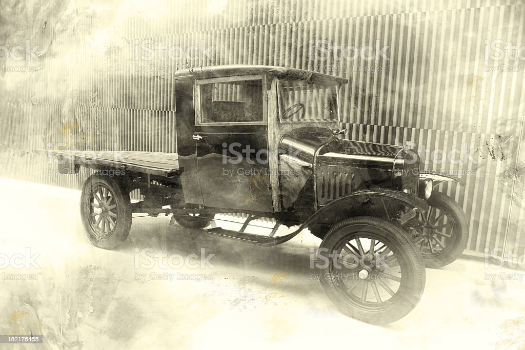 Old fashioned black and white photo of old car stock photo