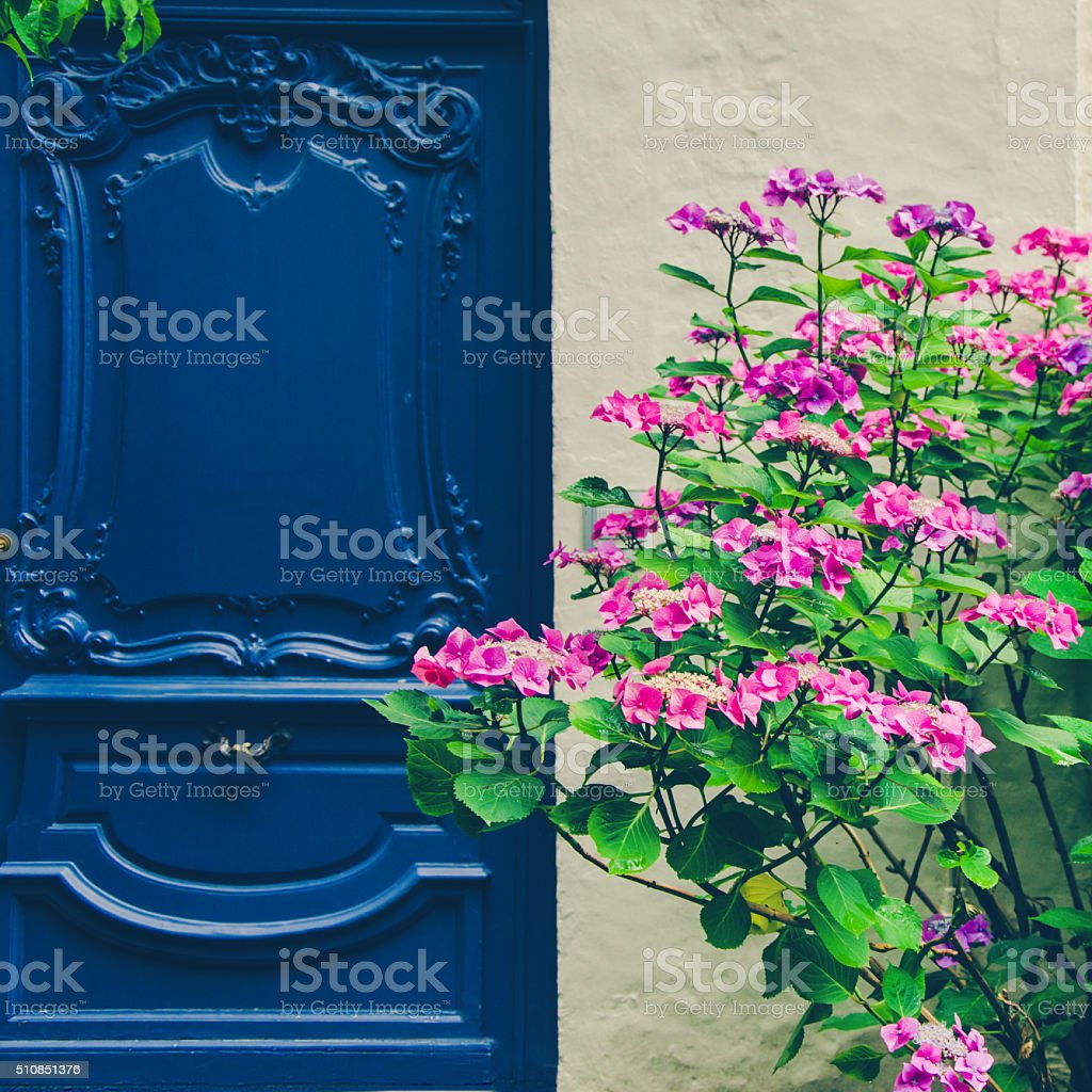 Old fashioned blue door with colorful flowers stock photo