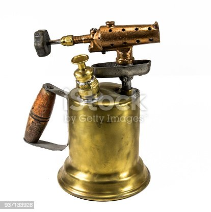 istock Old fashioned brass blow torch with wooden handle and bronze nozzle 2 937133926