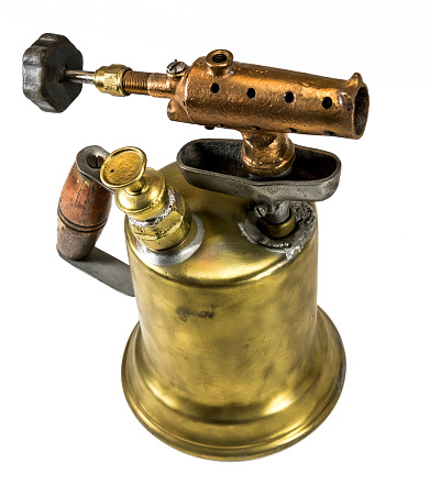 istock Old fashioned brass blow torch with wooden handle and bronze nozzle 937133956