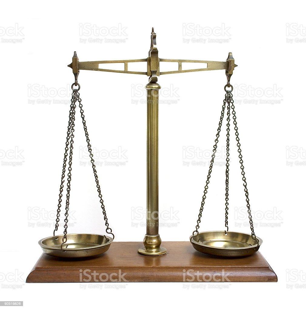 Old fashioned brass scales on white background royalty-free stock photo