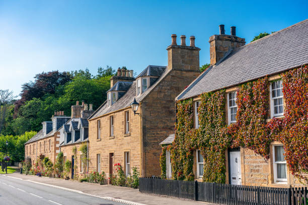 Old fashioned British stone-built homes stock photo