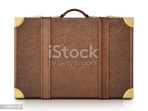 Old fashioned brown suitcase isolated on white.