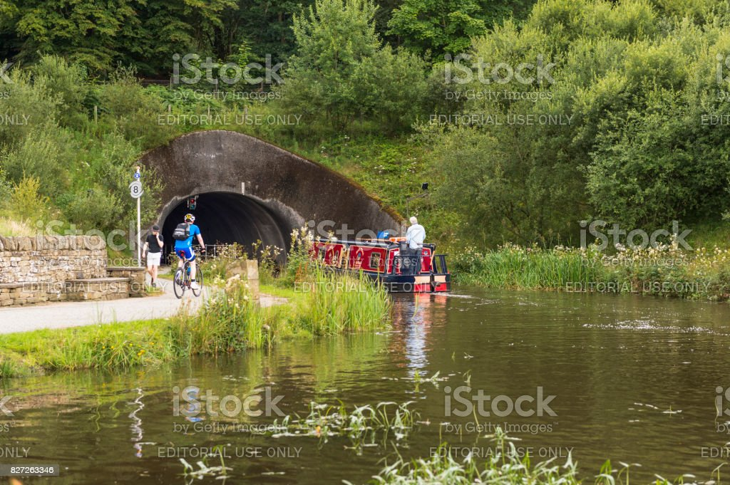Old fashioned canal barge on the Union Canal, central Scotland stock photo