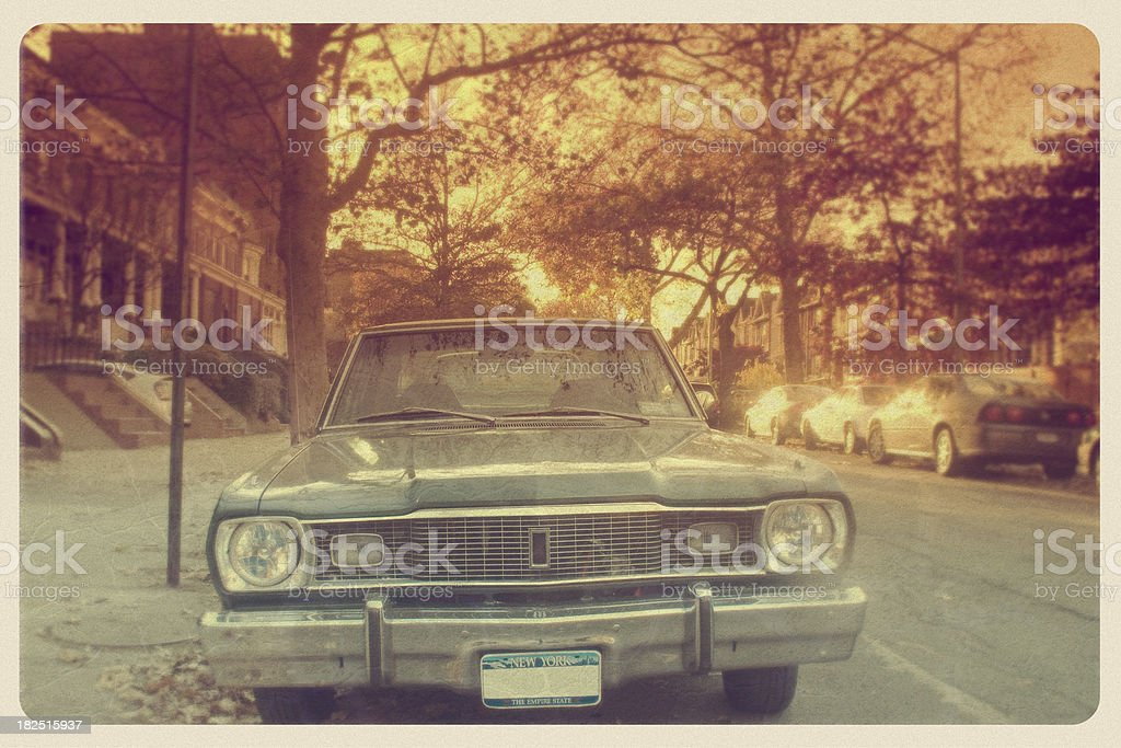 Old Fashioned Car in Brooklyn - Vintage Postcard royalty-free stock photo
