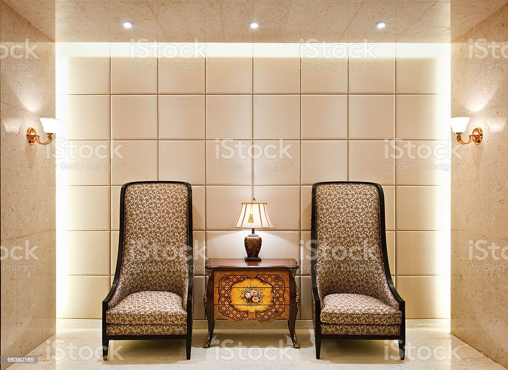 old fashioned chairs and side table royalty-free stock photo
