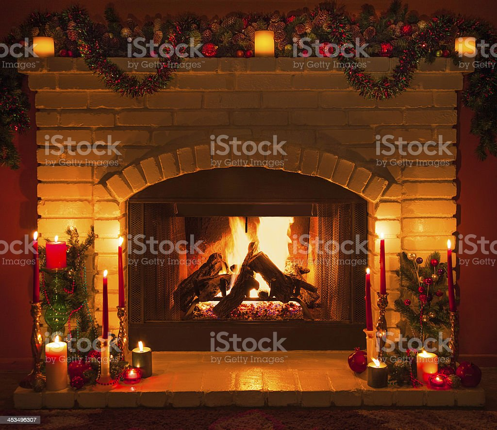 Christmas Fireplace Part - 28: Old Fashioned Christmas Fireplace (P) Stock Photo