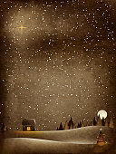 old fashioned painting / painting of christmas magic / grunge effects added