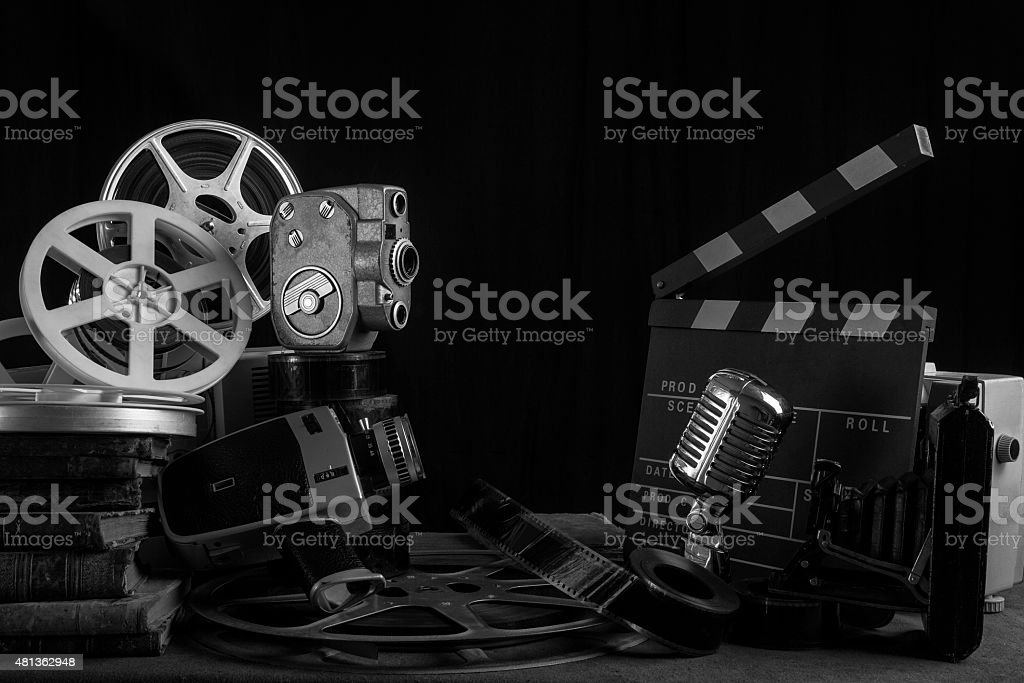 Old Fashioned Cinema And Video Equipments On Desk stock photo