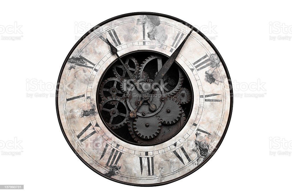 Old fashioned clock with visible center gears stock photo