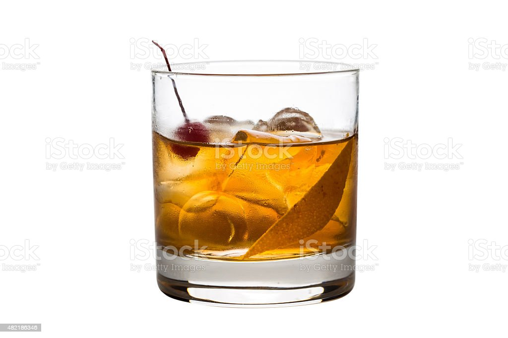 Old fashioned cocktai stock photo