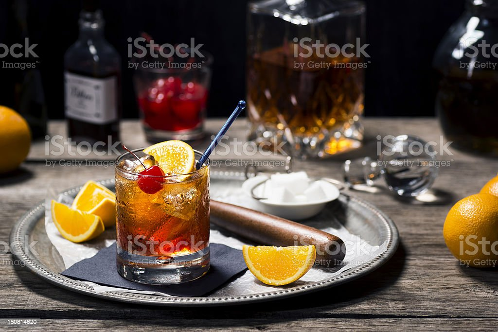 Old Fashioned Cocktail in a Vintage Bar stock photo