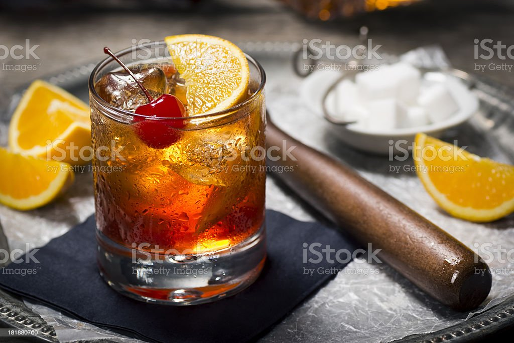 Old Fashioned Cocktail in a Vintage Bar royalty-free stock photo