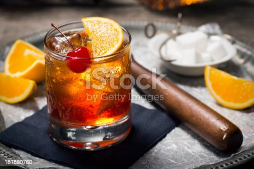 istock Old Fashioned Cocktail in a Vintage Bar 181880760