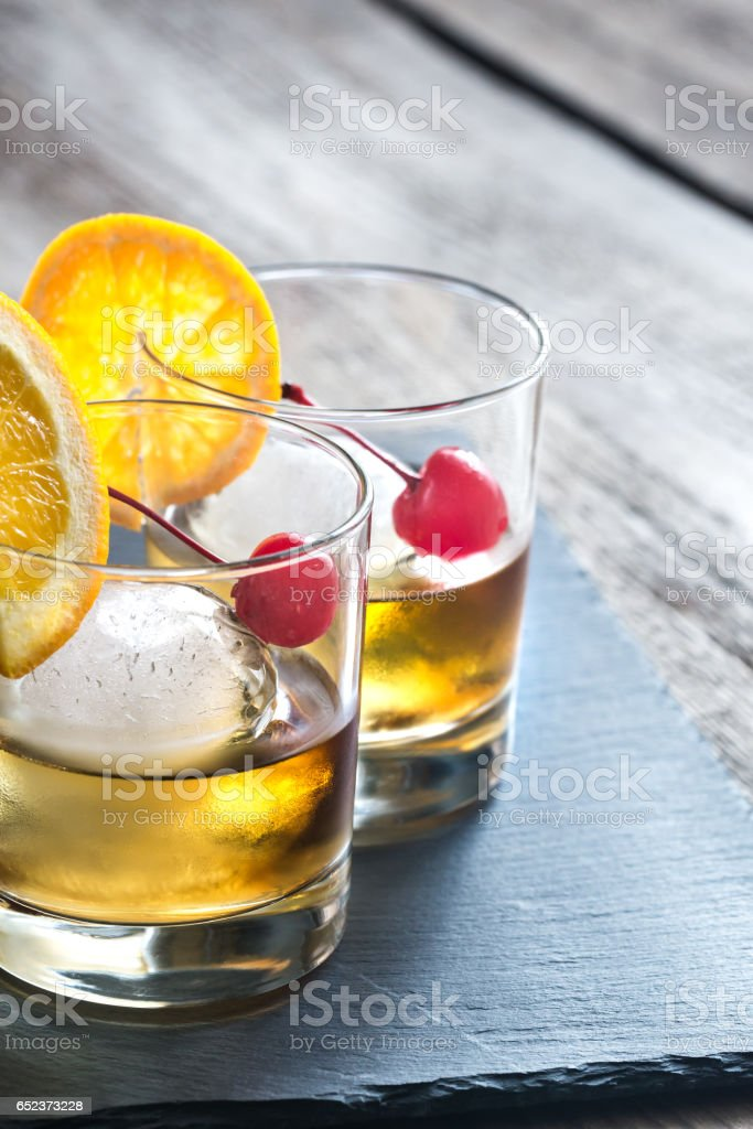 Old Fashioned Cocktails stock photo