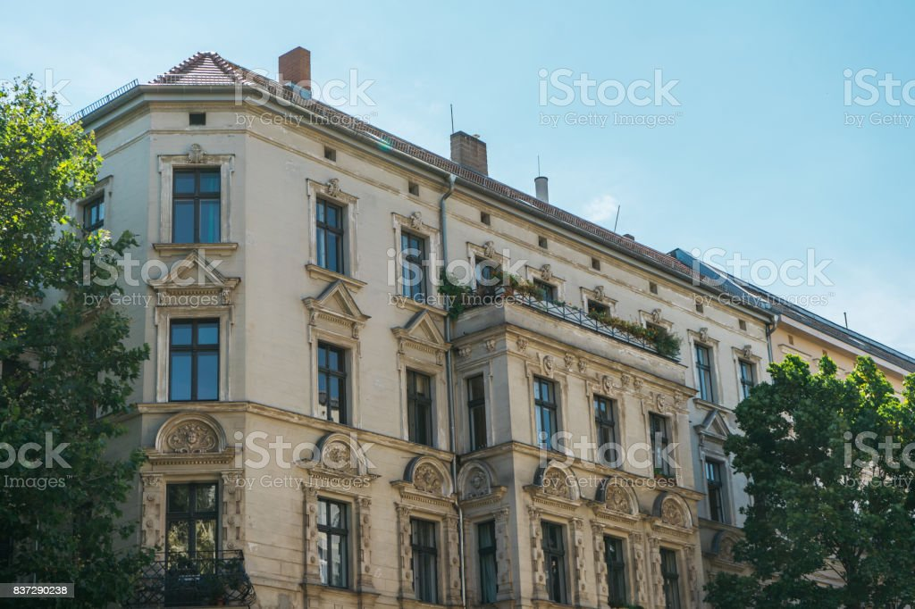 old fashioned corner house in the heart of berlin stock photo