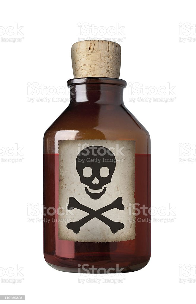 Old fashioned drug bottle, isolated. stock photo