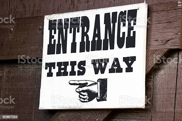 Old Fashioned Entrance Sign Stock Photo - Download Image Now
