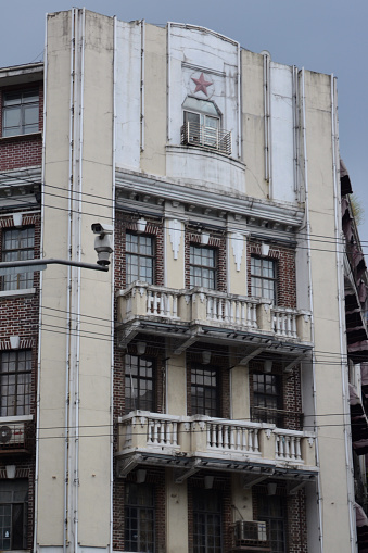 Old fashion art deco residential building facade in Shanghai, China