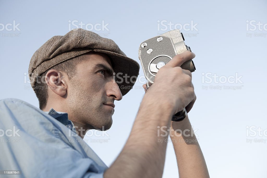 Old Fashioned Film Maker On Action royalty-free stock photo