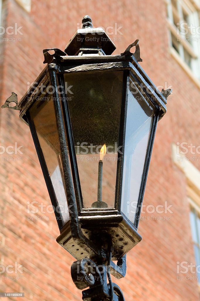 Old Fashioned Gaslight Street Lamp stock photo