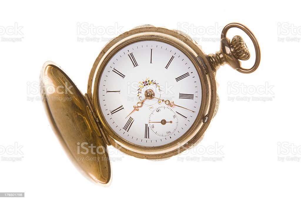 Old Fashioned Gold Pocket Watch, Isolated on White Background royalty-free stock photo