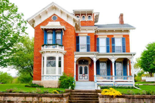 An old historical home that has been restored and rejuvenated in the Midwest.