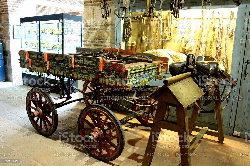 Old Fashioned Horse Cart and Saddle in Artisan Street, Ankara stock photo