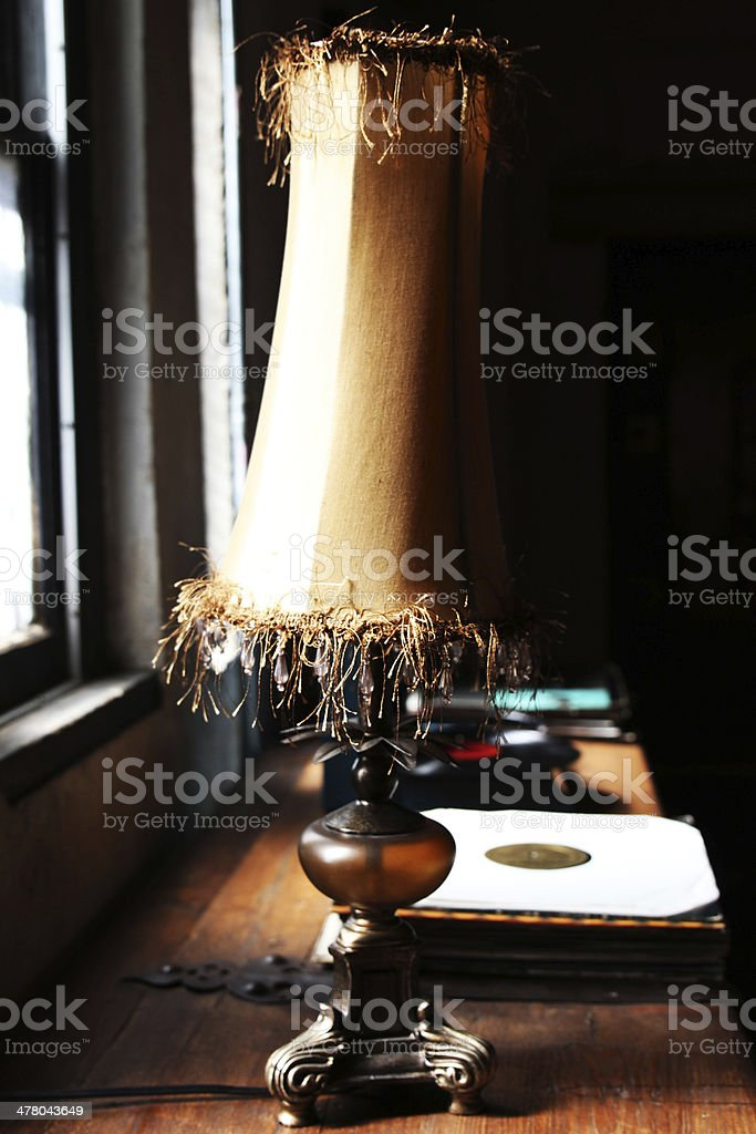 Old Fashioned Lamp and Vinyl Records stock photo