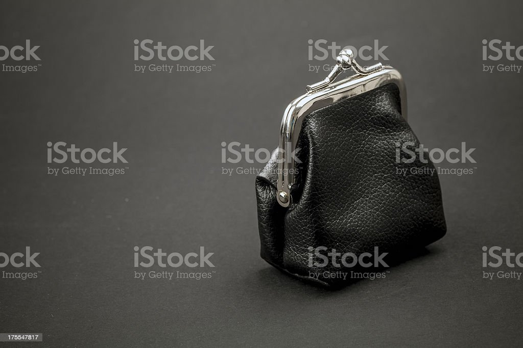 Old fashioned leather wallet stock photo