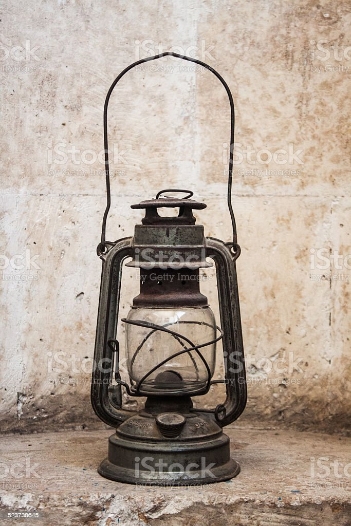 Old fashioned oil lamp, metal lantern stock photo