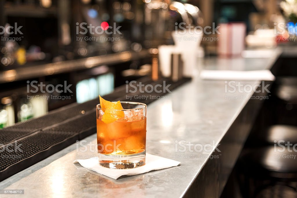Old Fashioned on The Bar stock photo