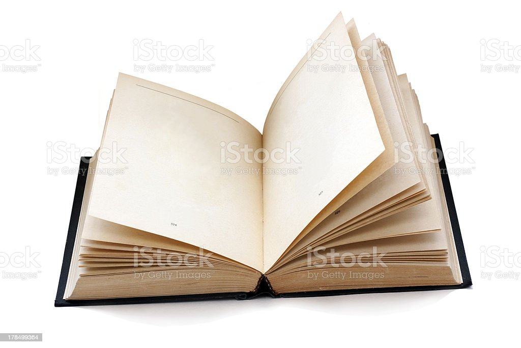 old fashioned open book with empty pages royalty-free stock photo