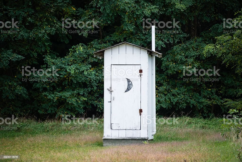 Old Fashioned Outhouse stock photo