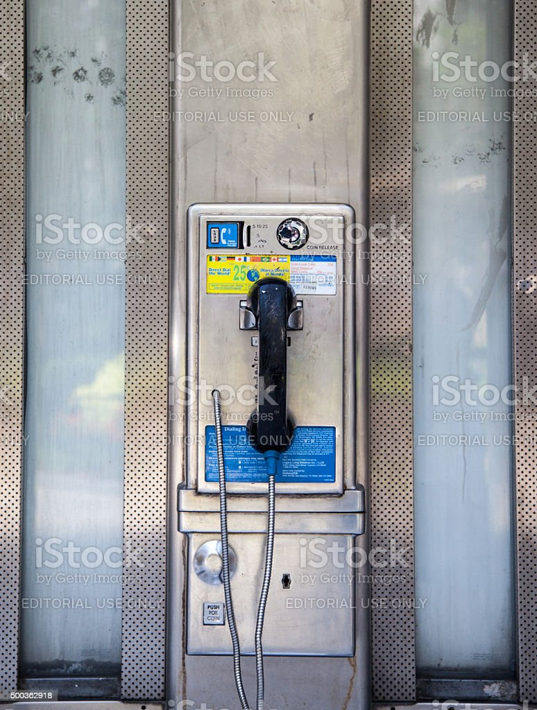 Old fashioned pay phone in Manhattan New York stock photo