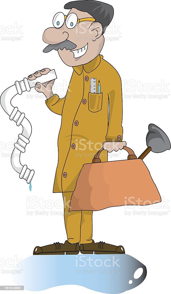 Old fashioned plumber with bag of tools.  Illustration. royalty-free stock photo