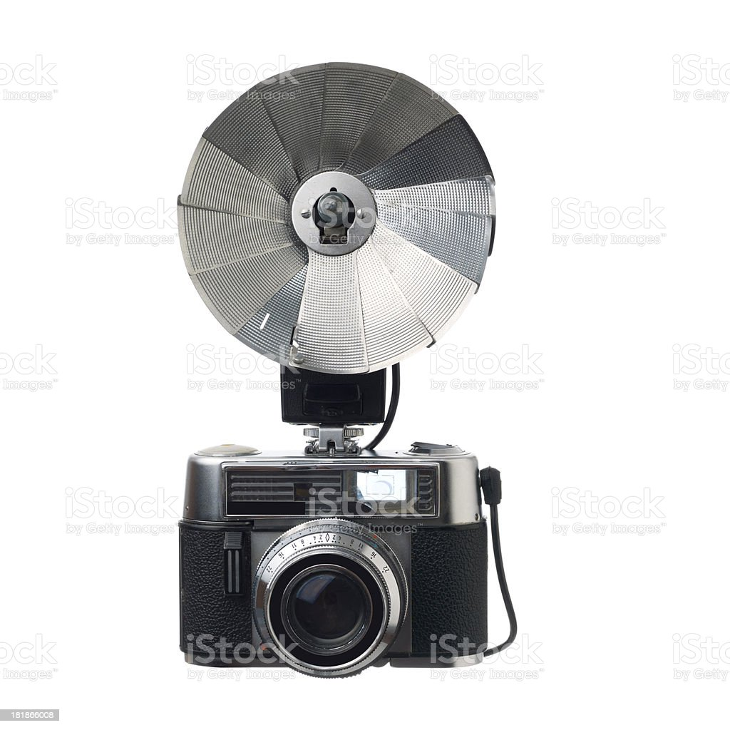Old fashioned range finder camera and flash on white background stock photo