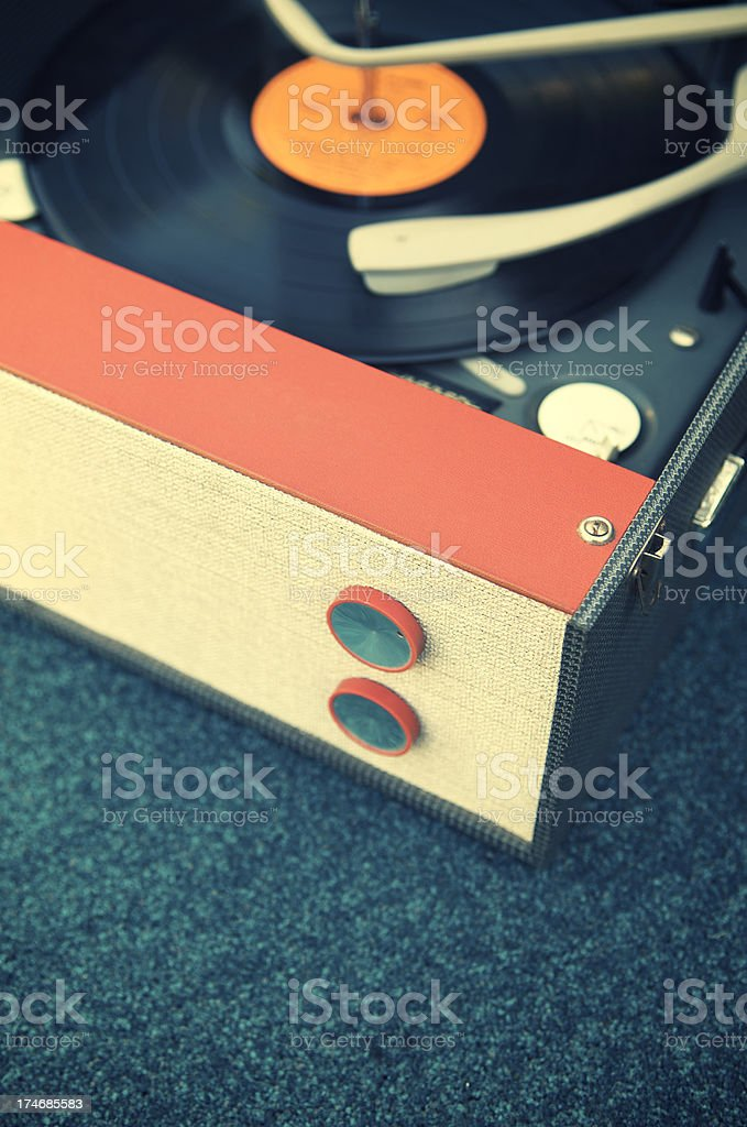 Old Fashioned Record Player Turntable on Blue stock photo