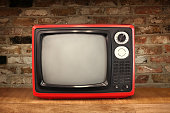 Old fashioned red TV, cut out, vintage,