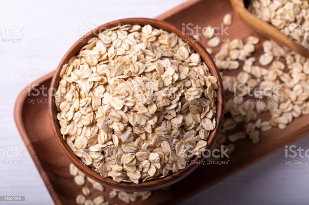 Old fashioned rolled oats stock photo