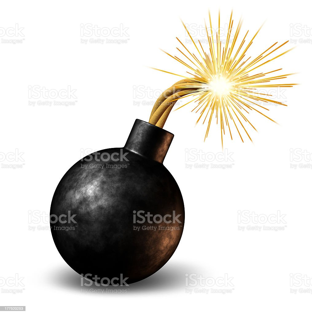 Old fashioned round iron bomb with lighted fuse stock photo