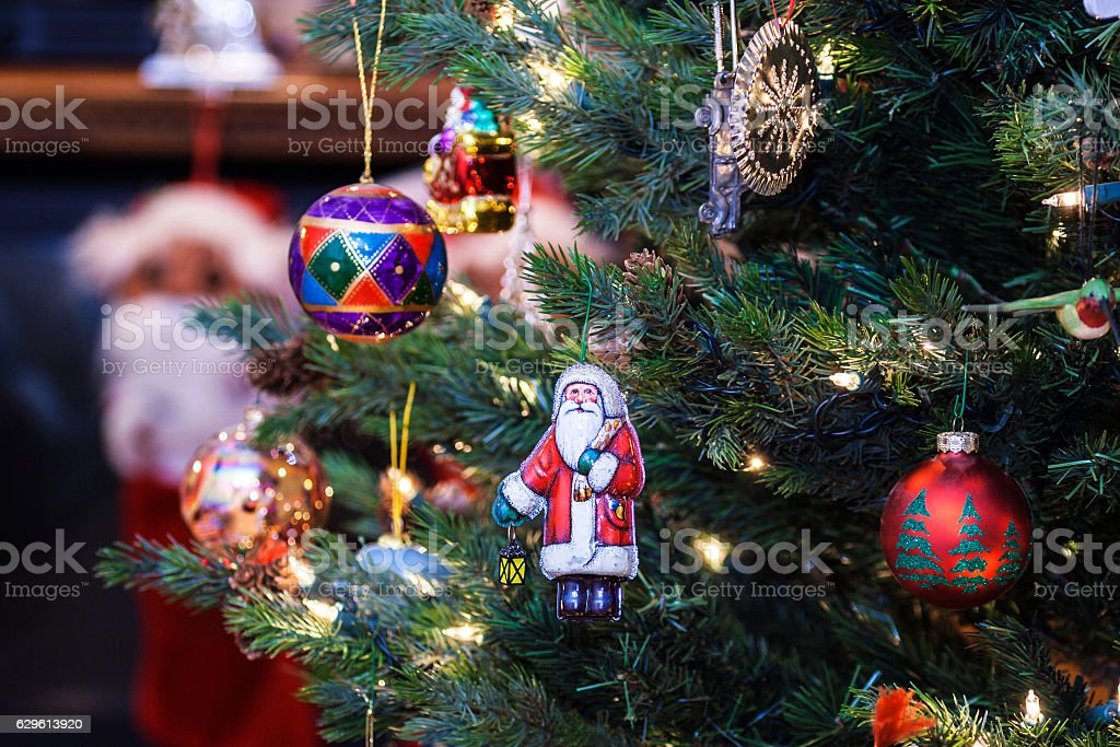 Old Fashioned Christmas Tree Decorations.Old Fashioned Santa Claus Christmas Tree Ornament Stock