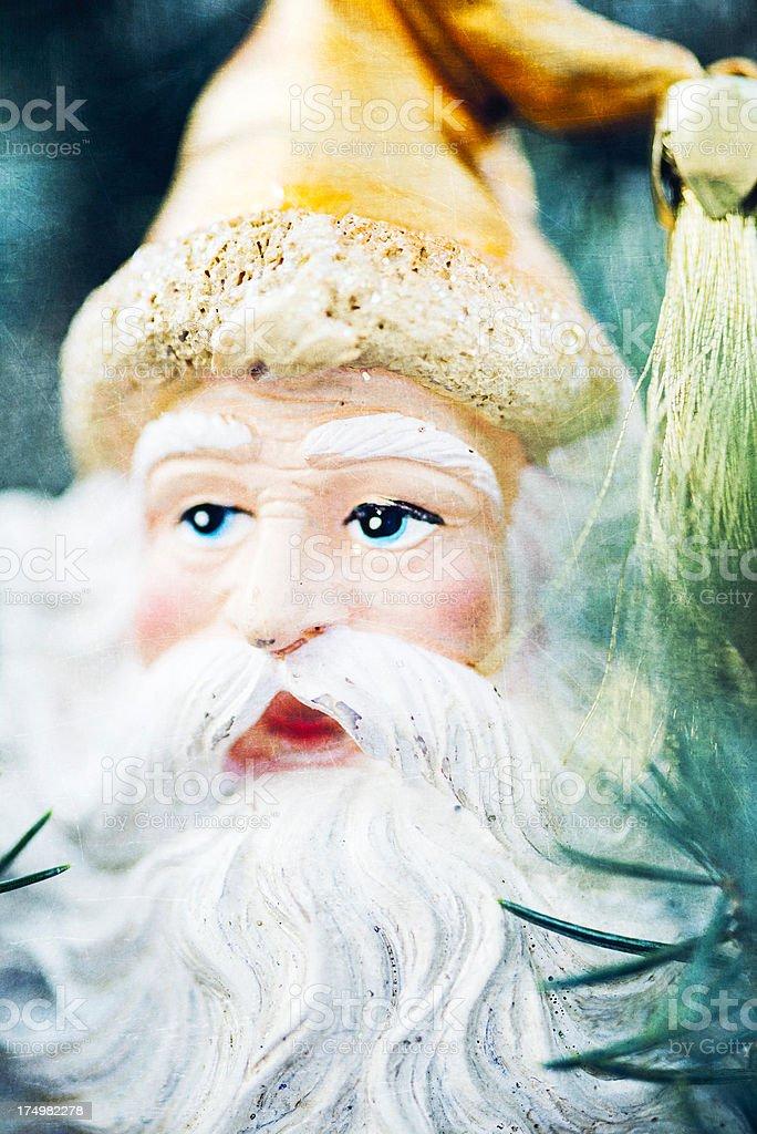 Old Fashioned Santa Ornament on Tree royalty-free stock photo